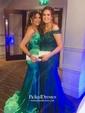 Trumpet/Mermaid V-neck Sweep Train Draped Prom Dresses