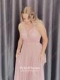 Sheath/Column V-neck Chiffon Floor-length Split Front Backless Hot Bridesmaid Dresses