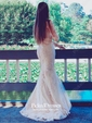 Scoop Neck Tulle Appliques Lace Sweep Train Trumpet/Mermaid 1/2 Sleeve Backless Elegant Prom Dresses