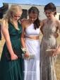 Sheath/Column V-neck Sweep Train Jersey Split Front Prom Dresses
