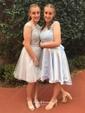 A-line Scoop Neck Satin Tulle Appliques Lace Asymmetrical Original Prom Dresses