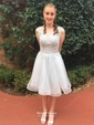A-line Scoop Neck Tulle Appliques Lace Short/Mini Sweet Prom Dress