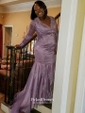 Latest Trumpet/Mermaid V-neck Red Tulle Appliques Lace Sweep Train Long Sleeve Prom Dresses