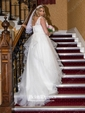 Ball Gown Ivory Lace-up Tulle Appliques Lace V-neck Wedding Dresses