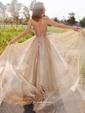 A-line V-neck Sweep Train Glitter Prom Dresses