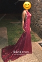 Trumpet/Mermaid V-neck Burgundy Sequined Sweep Train Prom Dress
