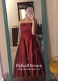 Princess Strapless Floor-length Satin Beading Prom Dresses
