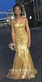 Trumpet/Mermaid V-neck Floor-length Sequined Prom Dresses