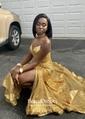 Trumpet/Mermaid V-neck Floor-length Sequined Split Front Prom Dresses