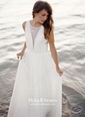 Ivory Chiffon Lace Scoop Neck with Buttons Promotion Wedding Dresses