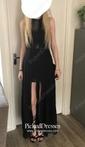 A-line Halter Floor-length Chiffon Tulle Split Front Prom Dresses