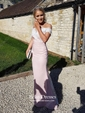 Trumpet/Mermaid Off-the-shoulder Tulle Silk-like Satin Sweep Train Appliques Lace Backless Latest Bridesmaid Dresses