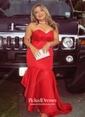 Trumpet/Mermaid Sweetheart Sweep Train Satin Cascading Ruffles Prom Dresses