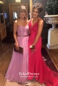 Trumpet/Mermaid V-neck Sweep Train Jersey Beading Prom Dresses