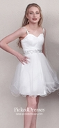 Ivory A-line Sweetheart Tulle with Beading Short/Mini Cute Prom Dresses