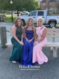 Trumpet/Mermaid Scoop Neck Sweep Train Ruffles Prom Dresses