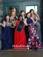 A-line V-neck Floor-length Satin Bow Prom Dresses