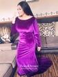 Trumpet/Mermaid V-neck Sweep Train Velvet Prom Dresses