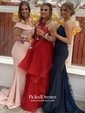 Trumpet/Mermaid Sweetheart Sweep Train Tulle Appliques Lace Prom Dresses