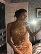 Two Piece Scoop Neck Funky Lace Beading Trumpet/Mermaid Prom Dress