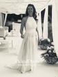 Summer A-line Halter Chiffon Floor-length Split Front Backless Bridesmaid Dresses
