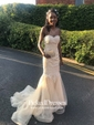 New Style Sweetheart Organza with Appliques Lace Floor-length Trumpet/Mermaid Prom Dresses