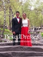 Fashion Two Piece Square Neck Satin with Appliques Lace Open Back Prom Dress