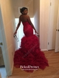 Trumpet/Mermaid Green Organza Court Train Cascading Ruffles Expensive Prom Dress