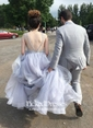 Open Back Ball Gown Organza Sweep Train Beading Sexy Prom Dresses