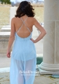 Backless A-line V-neck Chiffon Floor-length Split Front Cheap Bridesmaid Dresses