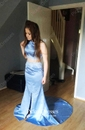 Two Piece Trumpet/Mermaid Sweep Train Appliques Lace Halter Prom Dress