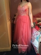 A-line V-neck Floor-length Tulle Sequins Prom Dresses