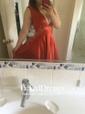 A-line V-neck Floor-length Satin Pockets Prom Dresses