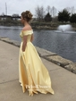 Princess Off-the-shoulder Sweep Train Satin Pockets Prom Dresses