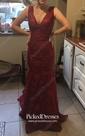 Trumpet/Mermaid V-neck Sweep Train Lace Prom Dresses