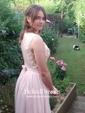 A-line Bateau Chiffon Floor-length Lace Bridesmaid Dresses