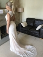 Amazing Sheath/Column Tulle Sweep Train Appliques Lace Open Back Prom Dress