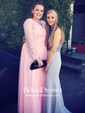 A-line V-neck Floor-length Chiffon Tulle Appliques Lace Prom Dresses