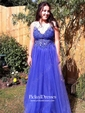 Princess V-neck Floor-length Tulle Beading Prom Dresses