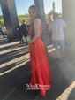 Two Piece A-line High Neck Split Front Sweep Train Open Back Latest Prom Dresses