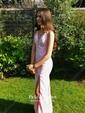 Trumpet/Mermaid V-neck Sweep Train Chiffon Split Front Prom Dresses