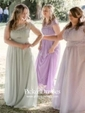 A-line Scoop Neck Floor-length Lace Chiffon with Pleats Bridesmaid Dresses