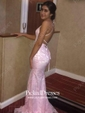 Sheath/Column Scoop Neck Lace Sweep Train Lace Bridesmaid Dresses
