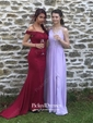 Sheath/Column Off-the-shoulder Sweep Train Tulle Jersey Appliques Lace Prom Dresses