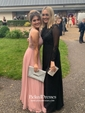 Black A-line Scoop Neck Chiffon Tulle Appliques Lace Sweep Train Long Sleeve Unique Prom Dresses