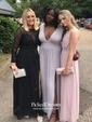 Black A-line Scoop Neck Chiffon Tulle Appliques Lace Sweep Train Long Sleeve Unique Prom Dresses
