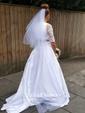Unique Two Piece A-line Off-the-shoulder Lace Taffeta Appliques Lace Court Train 1/2 Sleeve Wedding Dresses