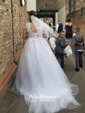 Fabulous Ball Gown V-neck Tulle Appliques Lace Court Train Backless Wedding Dresses