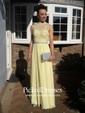 High Neck Open Back Tulle Chiffon Floor-length Beading Popular Prom Dress