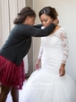Trumpet/Mermaid V-neck Tulle Court Train Appliques Lace 3/4 Sleeve Top Backless Wedding Dresses